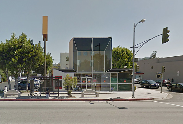 Frank Gehry's 1982 World Savings and Loan building (now Wells Fargo Bank) in Toluca Lake, Los Angeles. (Image via Google Street View)