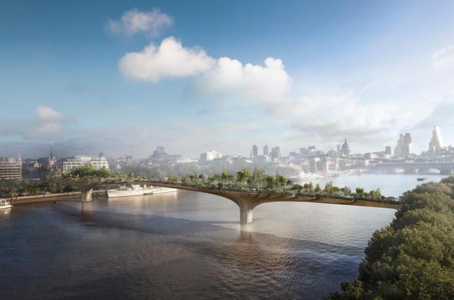 Rendering of the contested River Thames Garden Bridge proposal by Heatherwick Studio. (Image: Heatherwick studio)