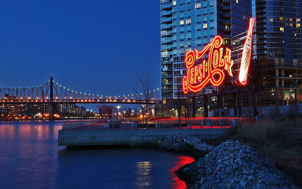 """The famous Pepsi-Cola sign at Gantry Plaza State Park, Long Island City. Photo: Dianne Rosete/<a href=""""https://www.flickr.com/photos/fuchsia_berry/8584956488""""target=""""_blank"""">Flickr</a>."""