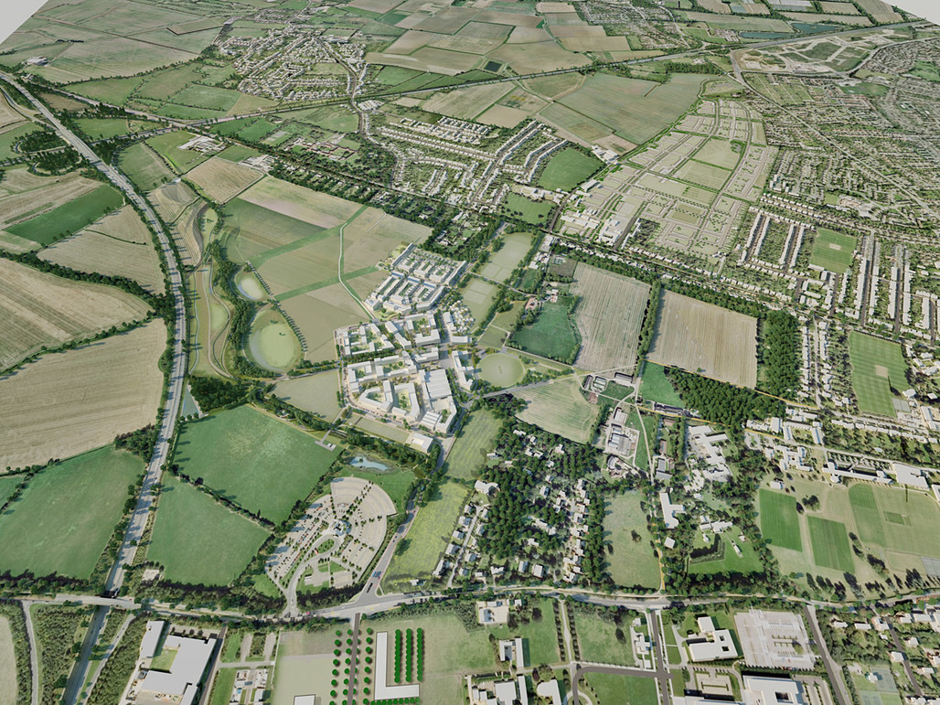 Aerial photo of the development area