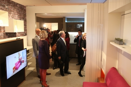 NYC Mayor Michael Bloomberg visiting the micro-apartment currently on exhibition at the Museum of the City of New York. Photo: Spencer T Tucker