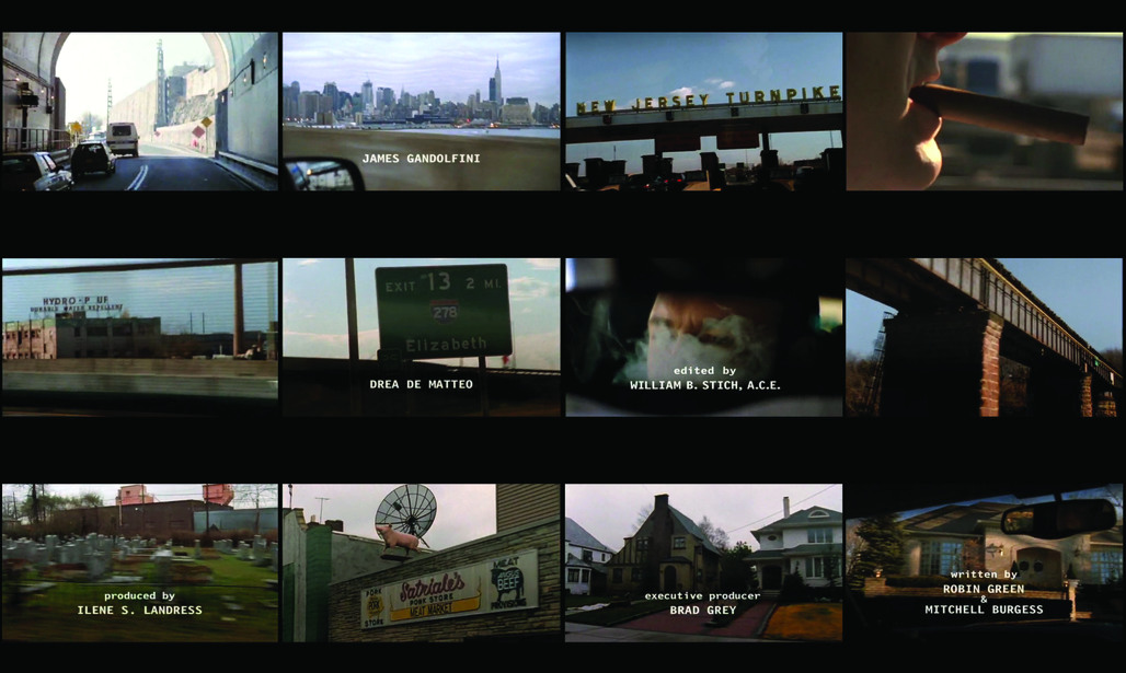 """Video stills of the opening title sequence of the American television drama """"The Sopranos"""". ©HBO """"Tony Soprano is emerging from the Lincoln Tunnel, entering the New Jersey Turnpike, one of the Greater New York Roads, and finally pulling into the driveway of his suburban home."""""""