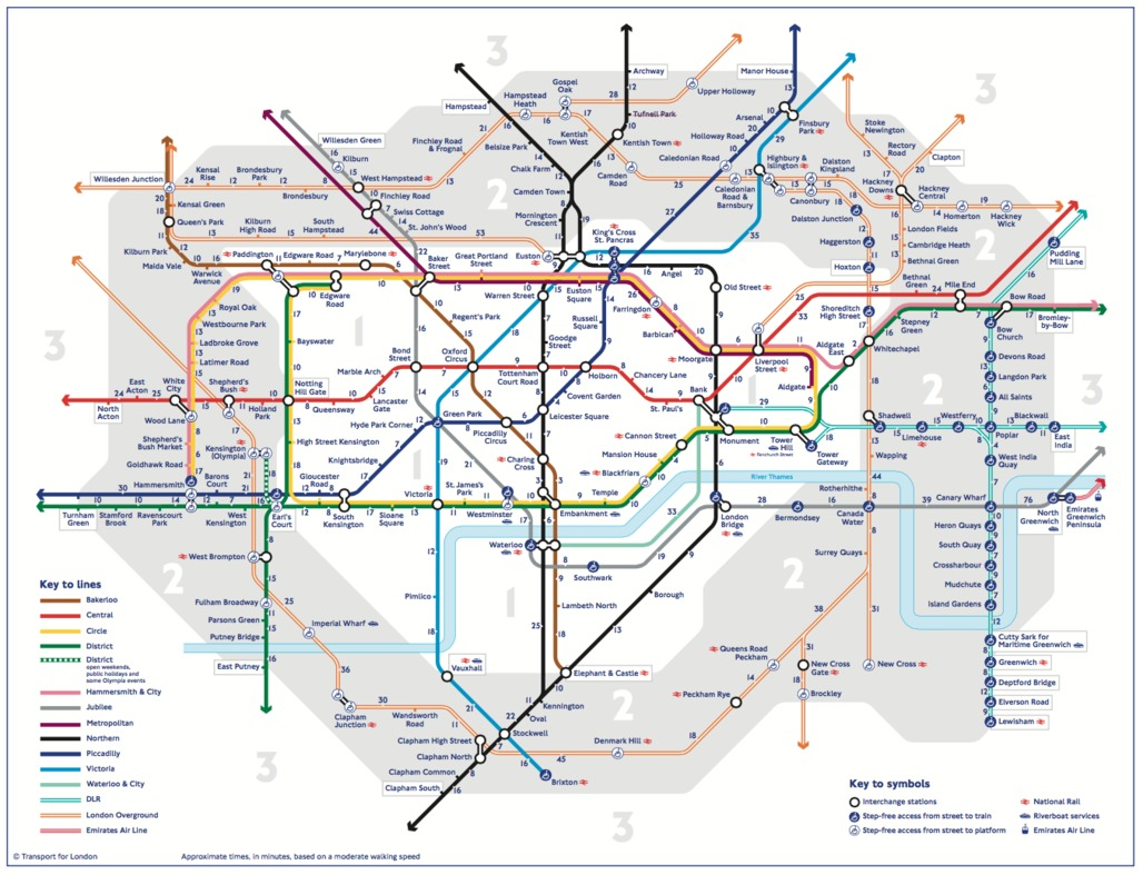 This is the first official map to show walking times between stations, although there have been several unofficial versions made. Credit: Transport for London / Mayor of London