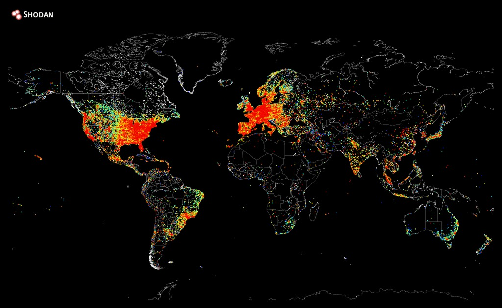 This map shows every device in the world connected to the Internet. Red means a higher concentration of devices. Credit: John Matherly
