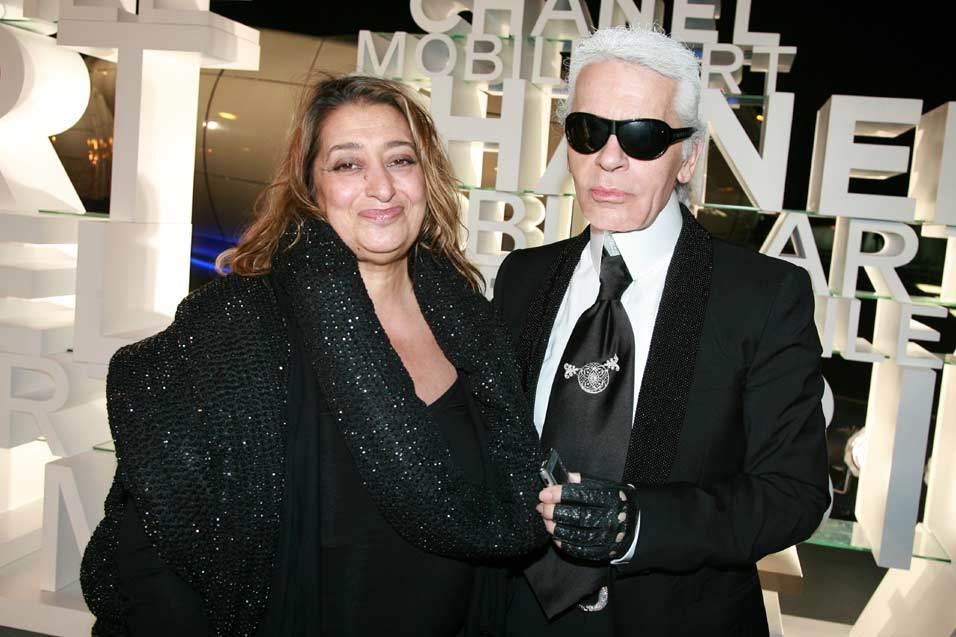 Zaha Hadid with Karl Lagerfeld