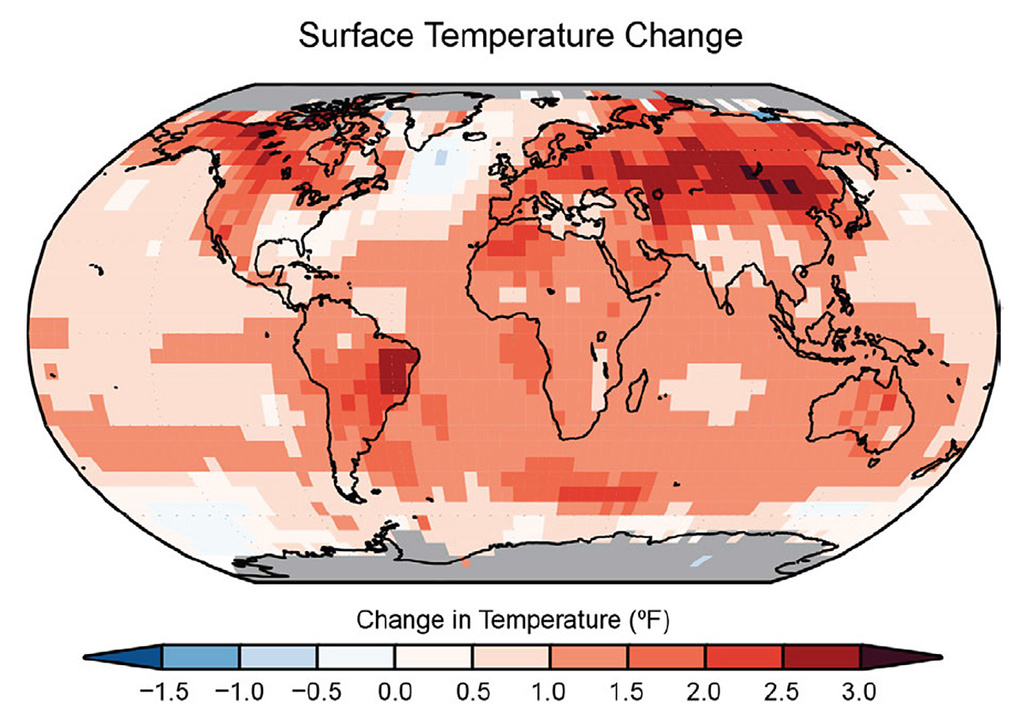 Surface temperature change in (in °F) for the period 1986-2015 relative to 1901-1960 from the NOAA National Centers for Environmental Information's surface temperature product. Illustration via the U.S. Global Change Research Program Climate Science Special Report final draft.