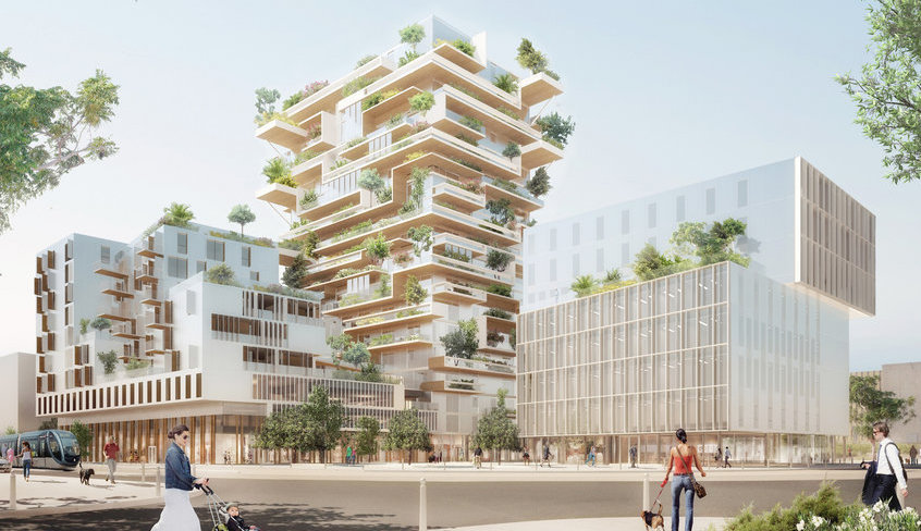 Rendering of the 18-story wooden residential tower to break ground in Bordeaux soon. (Image via globalconstructionreview.com)