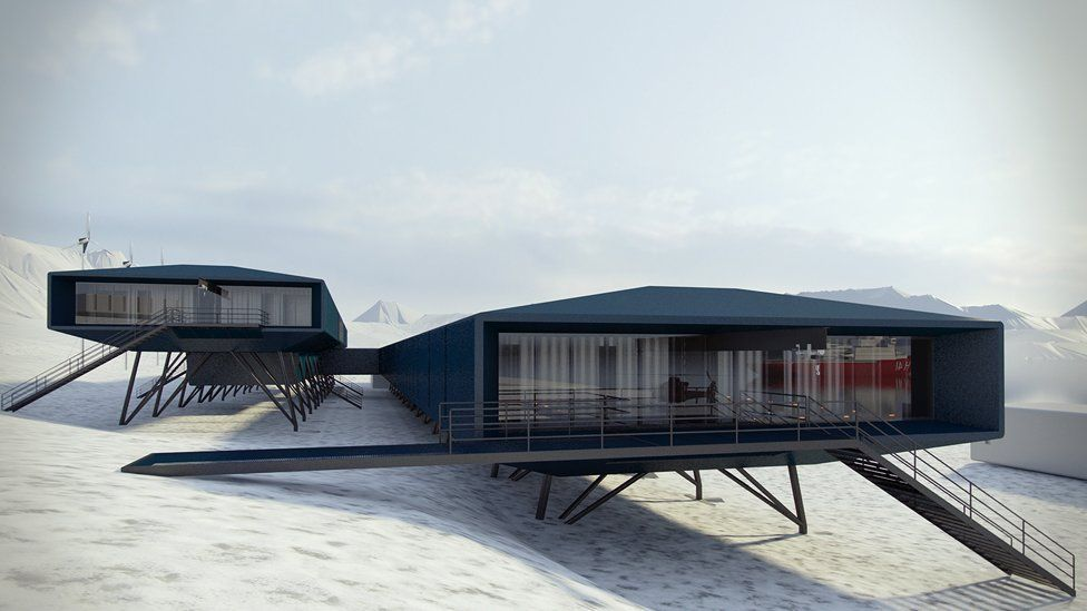 """Brazil's Comandante Ferraz Antarctic research station by <a href=""""http://archinect.com/firms/cover/66652456/hugh-broughton-architects"""">Hugh Broughton Architects</a> - The upper block will contain cabins, dining and living space; the lower block will house laboratories and operational areas"""
