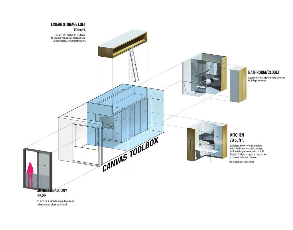 A typical New York micro-unit exploded. (Image via nARCHITECTS)