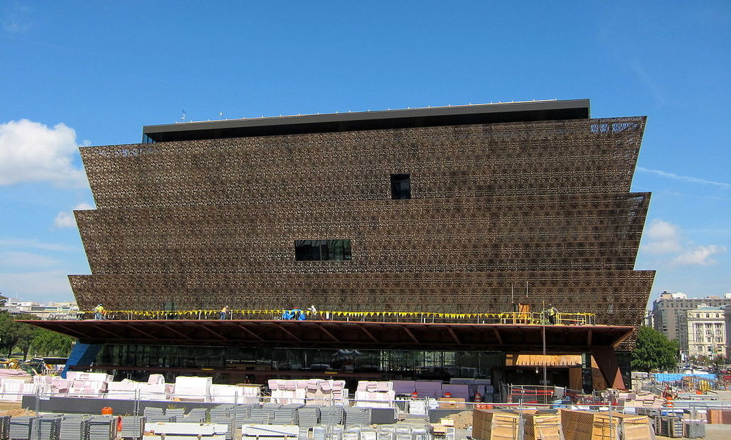 The National Museum of African American History and Culture under construction in 2015. Photo via Wikipedia.
