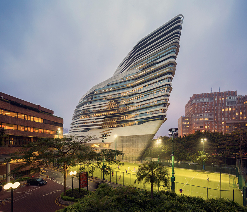 Higher Education And Research category: Jockey Club Innovation Tower by Zaha Hadid Architects from United Kingdom