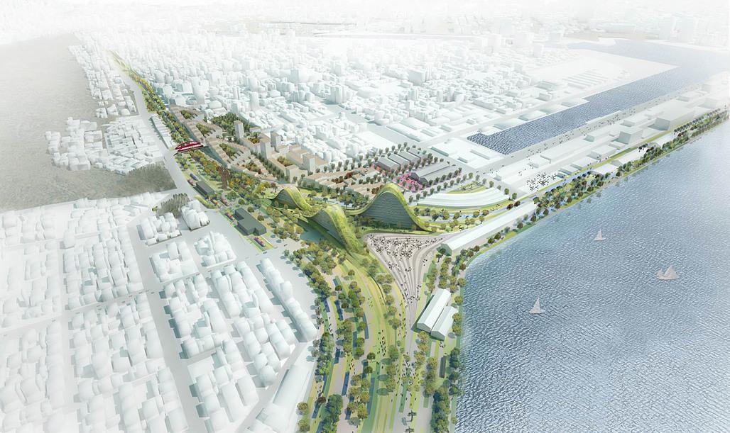 Aerial view of the competition-winning Kaohsiung Port Station concept by De Architekten Cie. (Image: De Architekten Cie.)