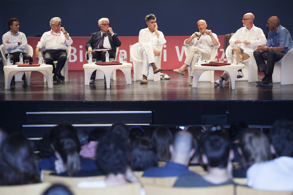 "The notoriously all-male ""Meetings on Architecture: Infrastructure"" panel at the Venice Biennale. Image courtesy of La Biennale di Venezia."