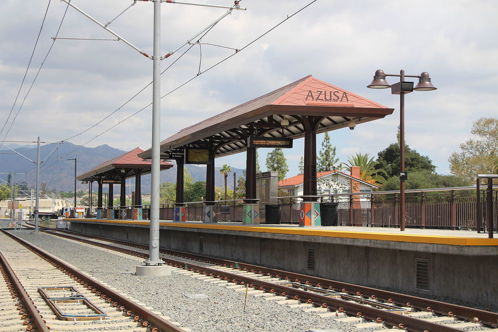 The brand-new terminus of the Metro Gold Line in Azusa. Image via wikipedia.org