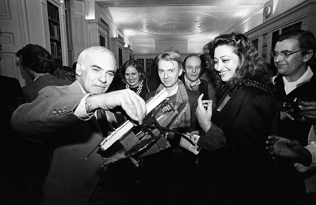 Zaha Hadid and colleagues at the Architectural Association in 1983. Photo via alainelkanninterviews.com.