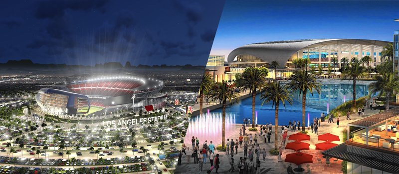 Los Angeles, without an NFL franchise for two decades, has recently been flooded with offers. Renderings show proposals for the LA suburbs of Carson (left) and Inglewood (right).