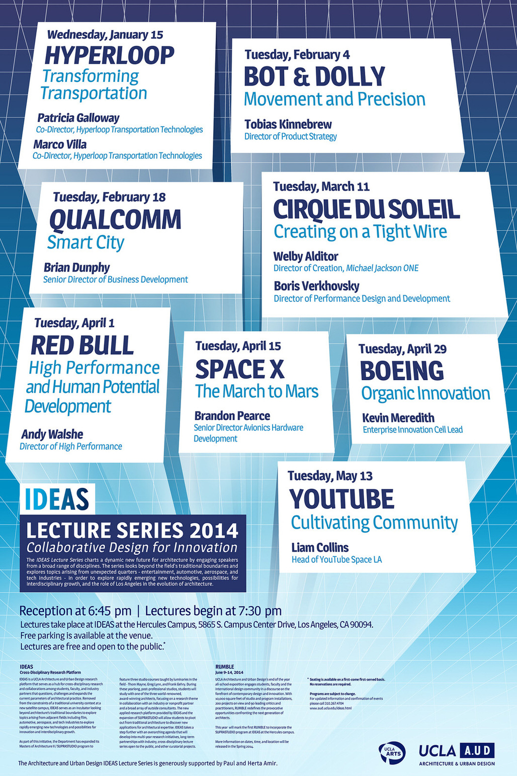 2014 IDEAS Lecture Series poster at UCLA A.UD. Image courtesy of UCLA A.UD.