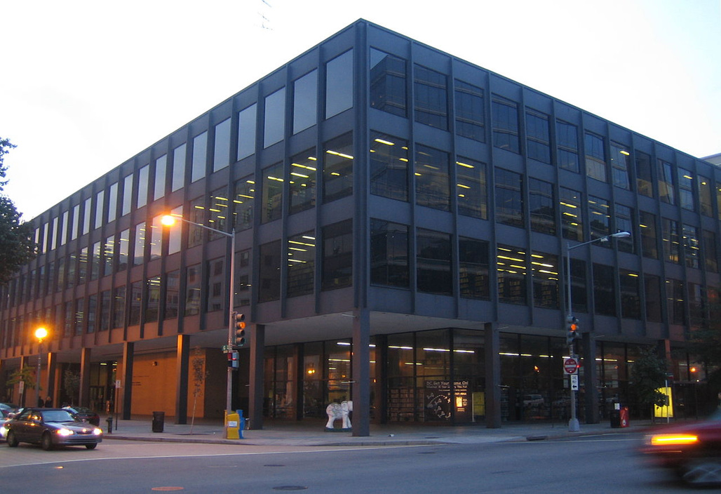 The Mies van der Rohe-designed Martin Luther King Jr. Memorial Library in Washington D.C. Photo by David Monack via wikipedia.org.