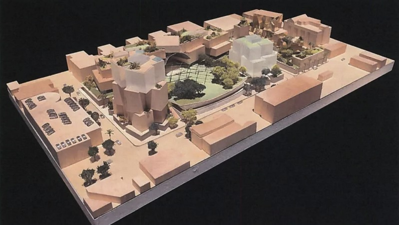 Northwest aerial view of Gehry Partners + Townscape Developers' proposed mixed-use campus in Beverly Hills. Image: Townscape Partners/Gehry Partners, via Curbed.