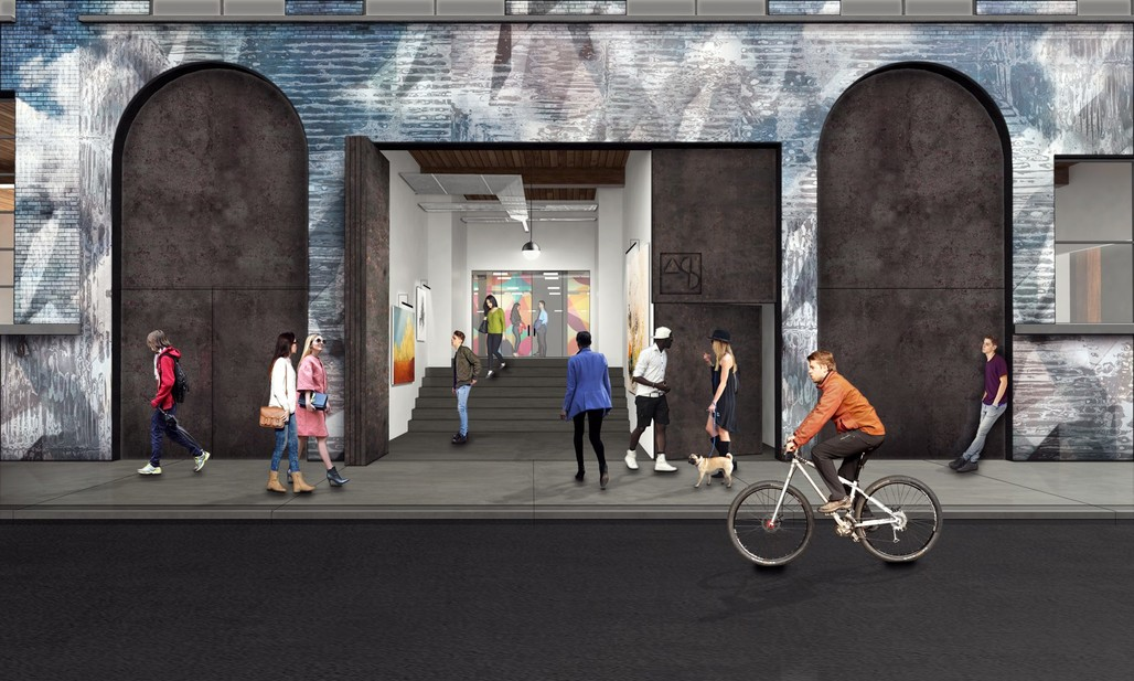 Entrance to Art Share L.A.'s new space. Rendering courtesy of Lorcan O'Herlihy Architects.