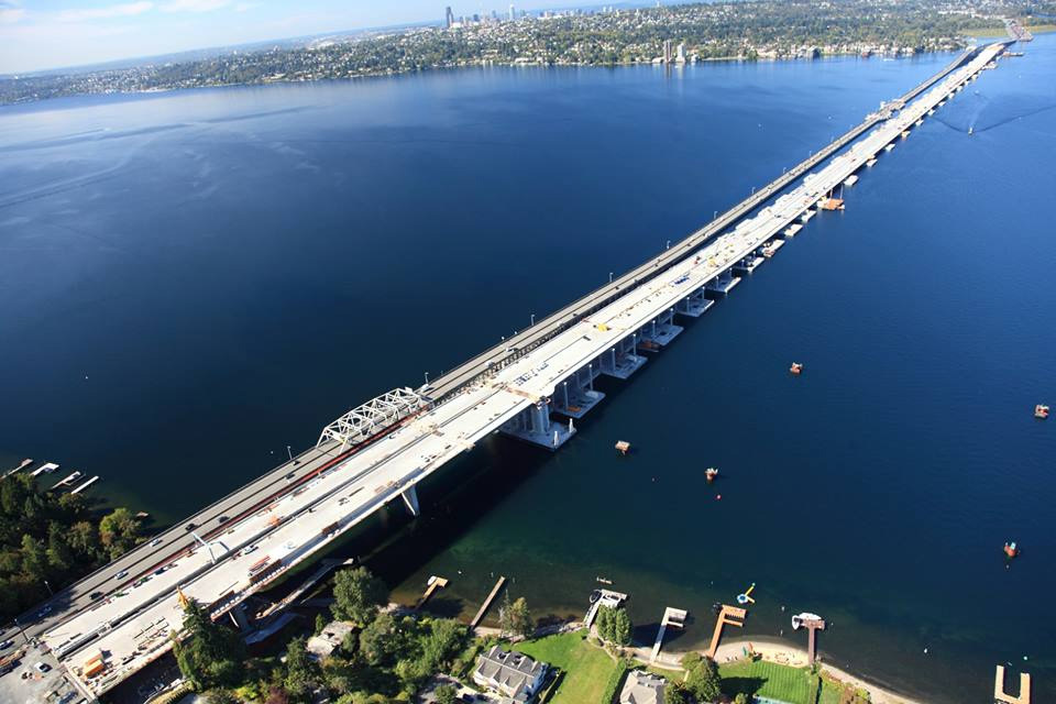 Seattle's new State Route 520 floating bridge, now the longest floating bridge in the world, sits right next to the former owner of this honor: the old SR 520 floating bridge. (Image via the Washington State Department of Transportation's Facebook page)