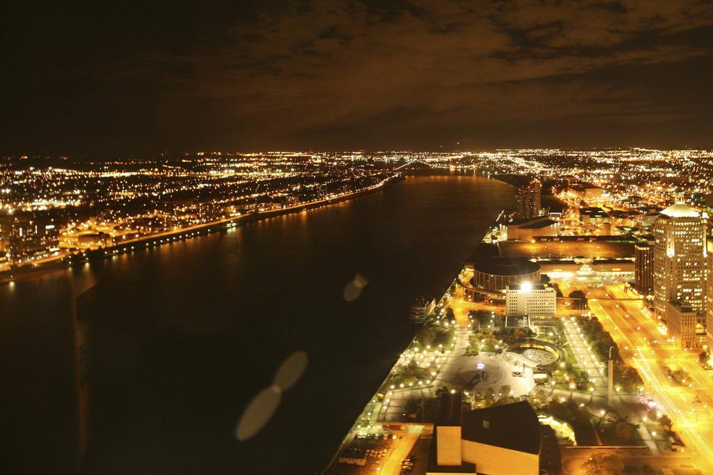Detroit at night. Via Flickr