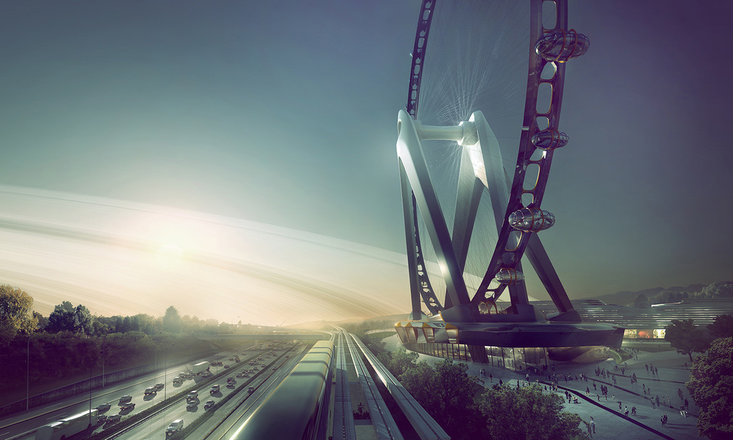 Rendering of UNStudio's proposal for the 'Nippon Moon' Giant Observation Wheel. Image courtesy of UNStudio.