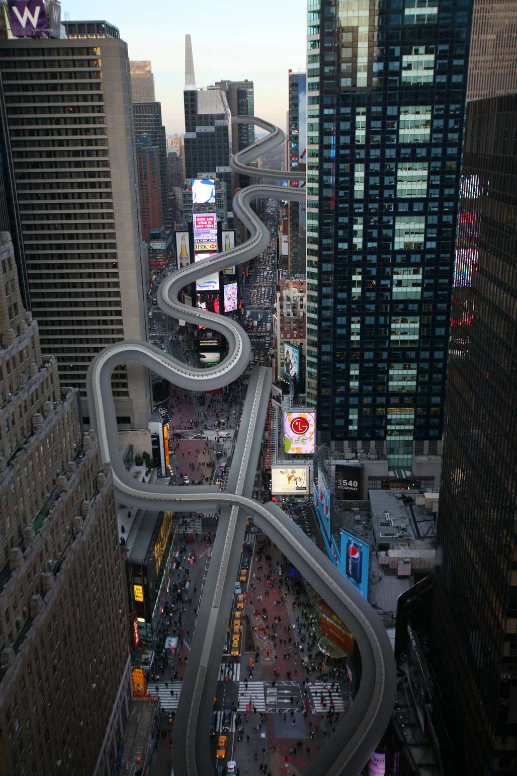 Luge, Bobsled and Skeleton: Racers might begin their starting sprints 40 stories up and several blocks north of Times Square for the run down the city's own version of the Sanki Sliding Center's track, finishing in a big turn on the plaza in front of the Armed Services Recruiting Center. Image via nytimes.