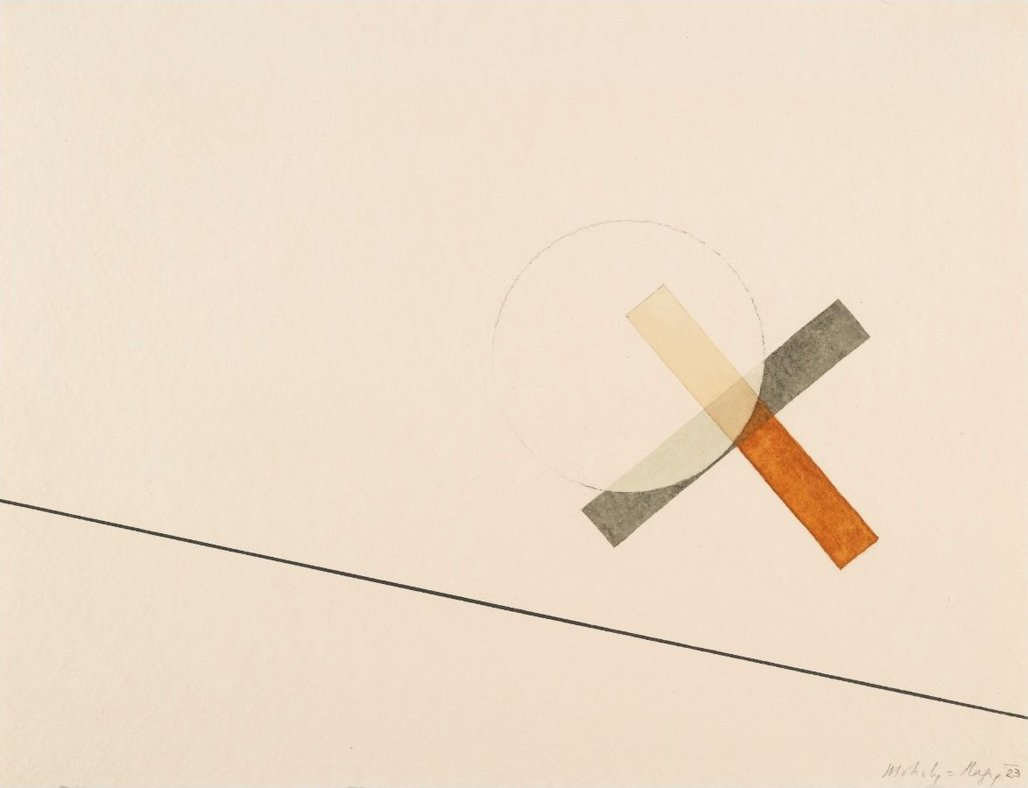 'UNTITLED' by László Moholy-Nagy, 1923, watercolor, ink & pencil. Image via Wikimedia Commons.