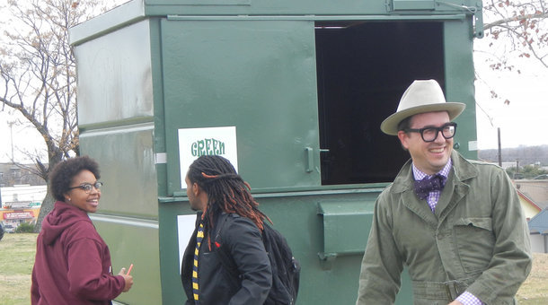 Huston-Tillotson University's Dean of the University College and Associate Professor of Biological Sciences, Jeff Wilson, moved into a 33-square foot dumpster for one year. (Marketplace; Photo: Huston-Tillotson University public relations)