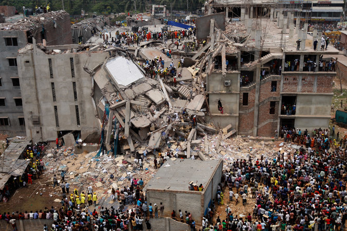 The collapsed Rana Plaza building near Dhaka, Bangladesh in 2013. Photo Credit Abir Abdullah/European Pressphoto Agency, via nytimes.com