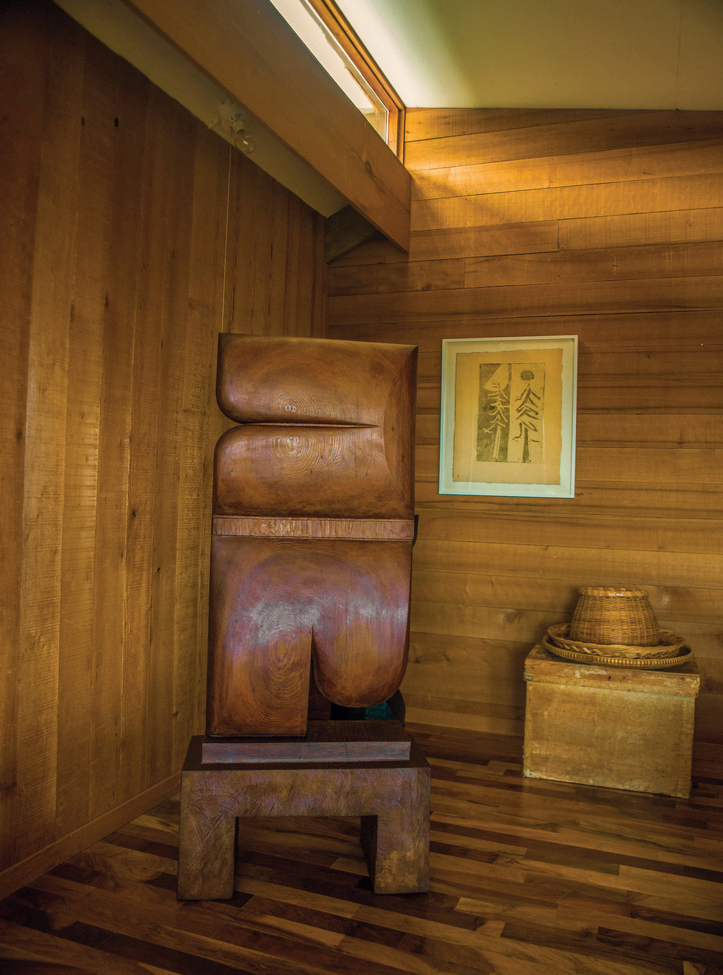 A totemic sculpture by Blunk in the corner of the master bedroom. Credit Lisa Eisner