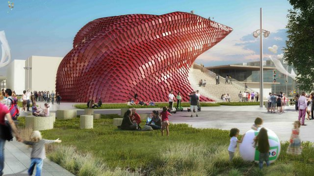 One of China's five pavilions at the 2015 World Expo in Milan is the Daniel Libeskind-designed China Vanke pavilion. (Image via qz.com)