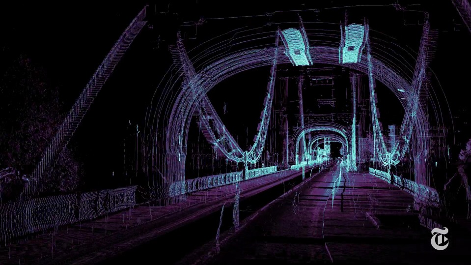 A 3-D laser scanner was driven through London to see how it interprets — and misinterprets — its environment. Screenshot via Vimeo.