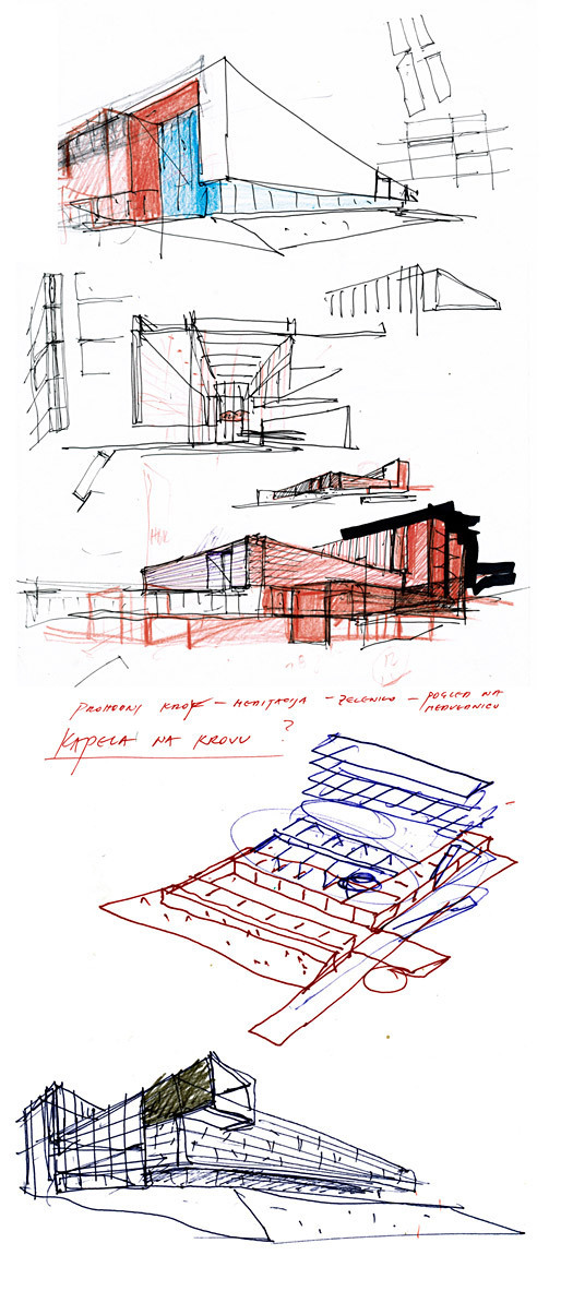preliminary sketch of design for Administrative Building of the Croatian Bishops' Conference
