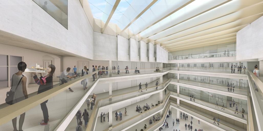 Interior Front Zollamtsstrasse 7 - University of Applied Arts Vienna / Rendering by Josef Andraschko_RIEPLKAUFMANNBAMMER ARCHITECTURE