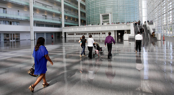 The atrium of the Sandra Day O'Connor Federal Courthouse has proved a challenge to cool. (Joshua Lott for The New York Times)