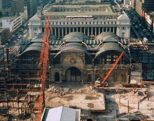 The demolition of Penn Station in the early 1960s. (via nytimes.com; Photo: Norman McGrath)