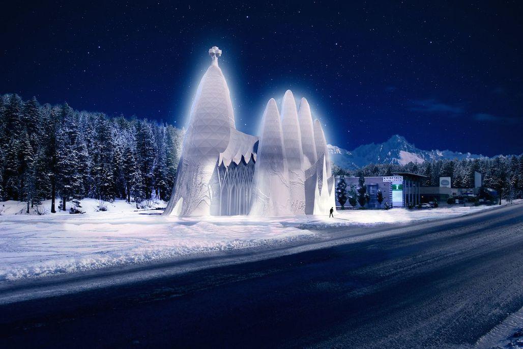A rendering of the Sagrada Familia in Ice at night; via qz.com