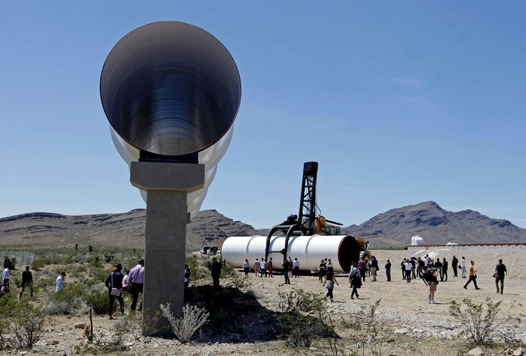 Hyperloop tubes on display in Las Vegas. John Gurzinski/Agence France-Presse for Getty Images.