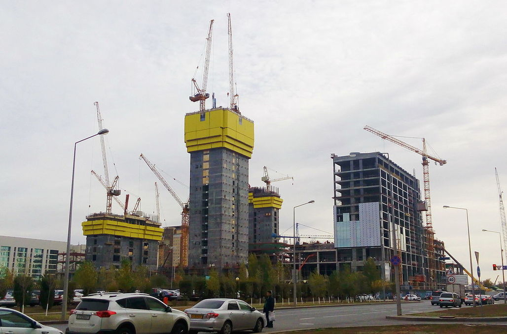 A photo from October 6, 2015 shows the construction site of the Abu Dhabi Plaza in the Kazakh capital of Astana. (Image via Wikipedia)
