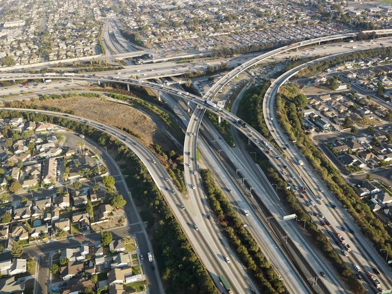 Los Angeles freeway interchange. Image via ehp.niehs.nih.gov.