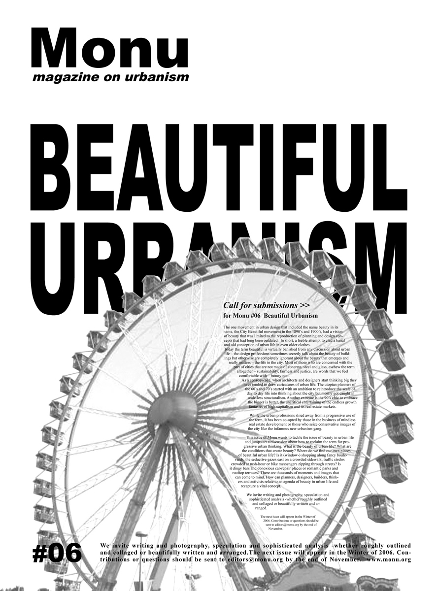 call for submissions for Beautiful Urbanism in 2006. Poster © MONU