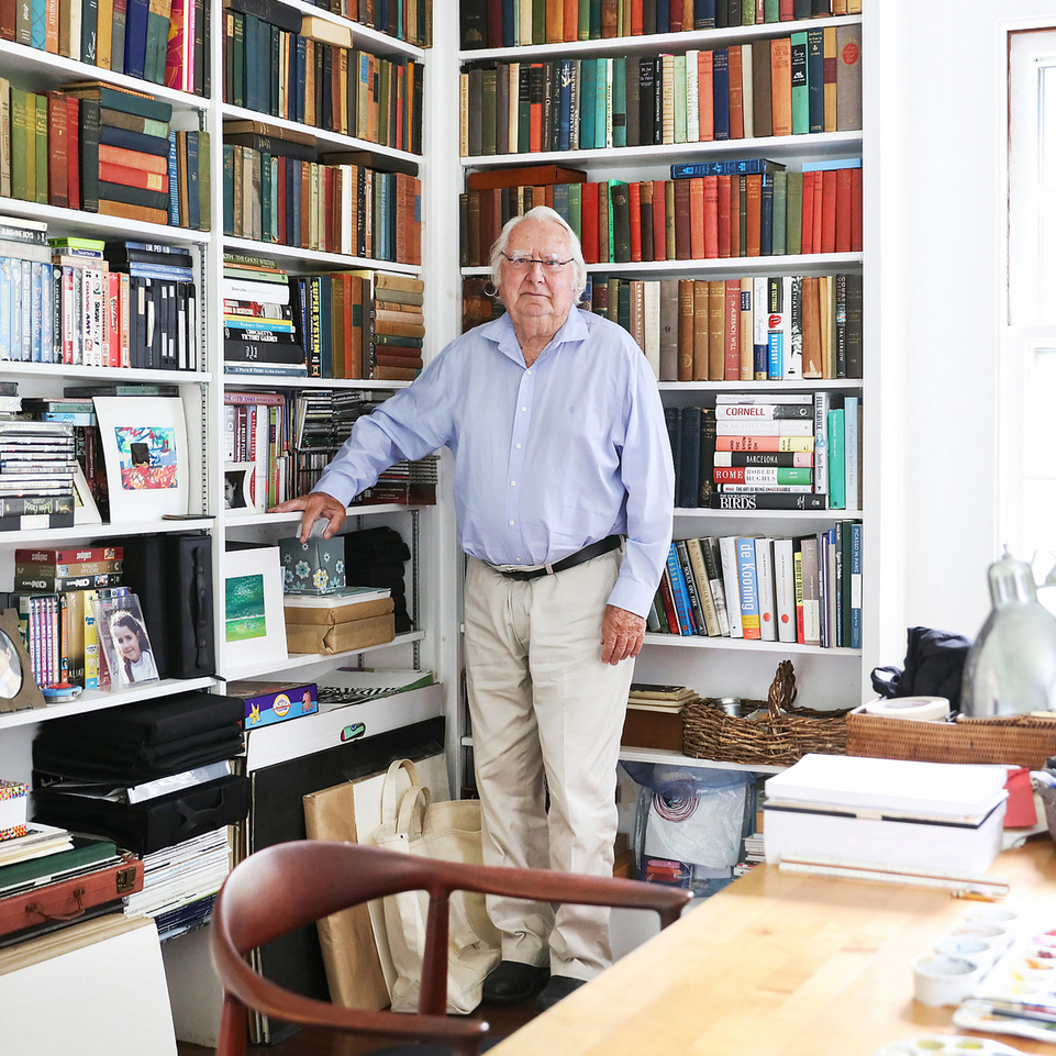 Richard Meier in the study of his summer home, a farmhouse built in 1907. Credit Rebecca Smeyne for The New York Times