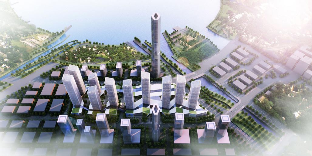Bird's-eye view of the new Shenzhen urban development by gmp. Image © gmp