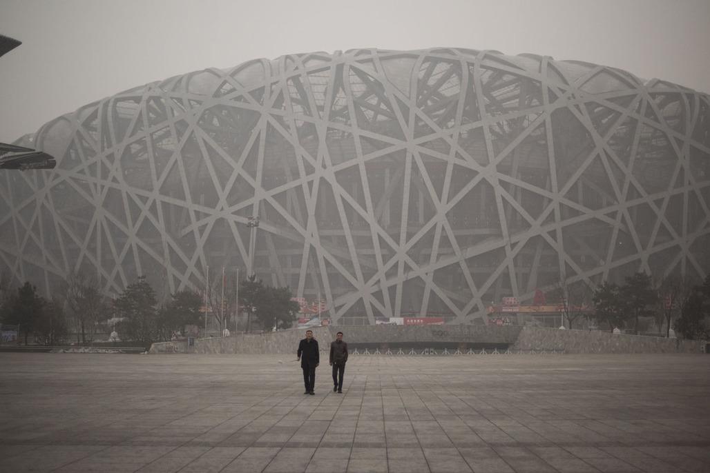 Bird's Nest Olympic Stadium in Beijing on December 1, 2015. Image via darkroom.baltimoresun.com