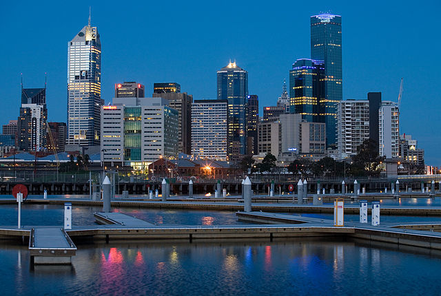Melbourne skyline as viewed from Yarra's Edge, Docklands, Melbourne after sunset. Photo by Diliff via Wikipedia.