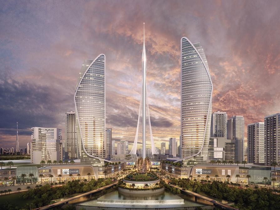 A rendering of the Dubai Creek Tower at the center of the upcoming harbour complex.