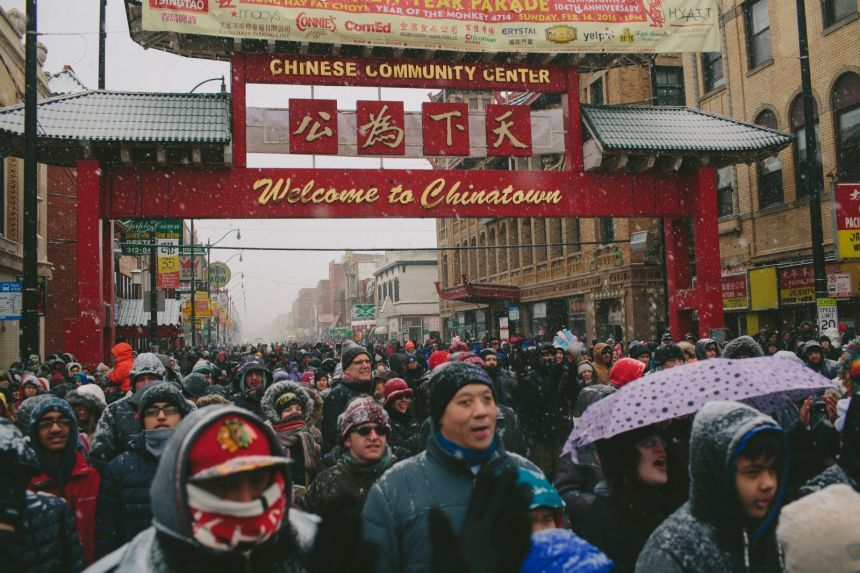 Crowds gathering in Chicago's Chinatown for Lunar New Year festivities. Photo via nextcity.org.