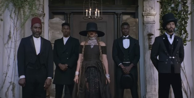 """Screenshot from Beyoncé's """"Formation"""" music video at the Fenyes Mansion in Pasadena, California."""